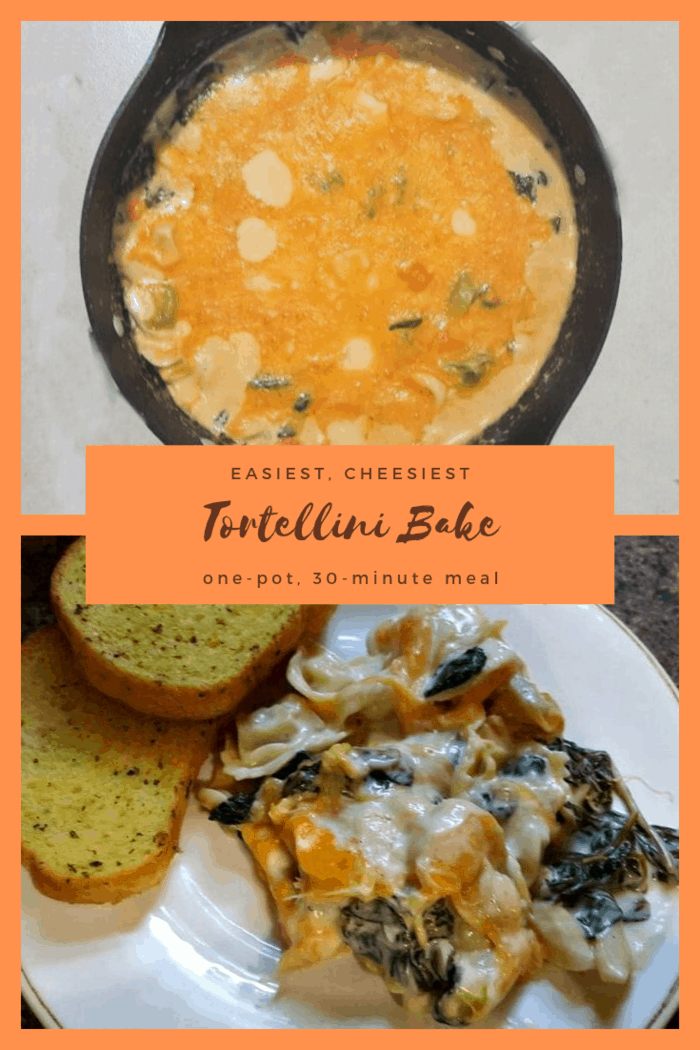 For any cheese lover out there, this is the Easiest, Cheesiest Tortellini Bake Recipe to feed the craving. It's an easy, one-pot meal that's ready in just 30-minutes. No stress, no dishes, just dinner on the table.
