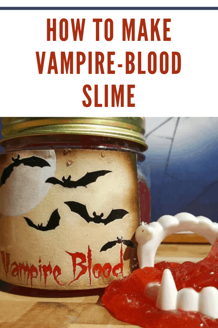 Jar of edible vampire blood slime with label with bats and a full moon