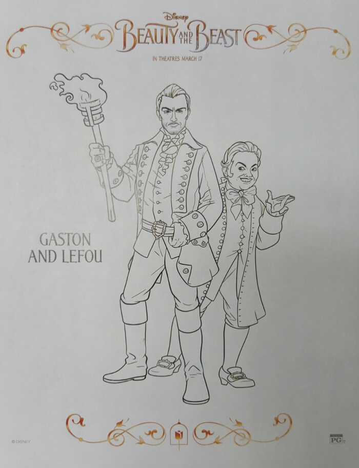 beauty and the beast coloring sheets gaston and lafou