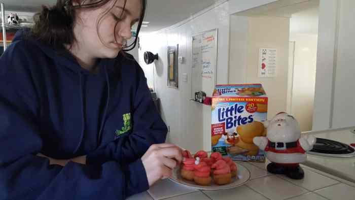 Entenmann's Little Bites Sugar Cookie Muffins Santa Hats