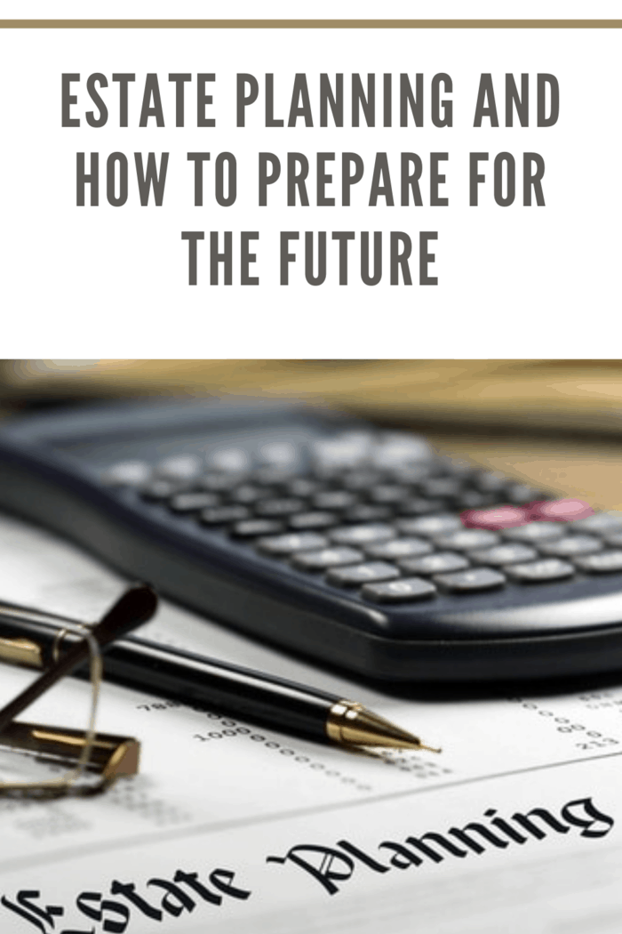 estate planning documents with calculator, glasses and a pen