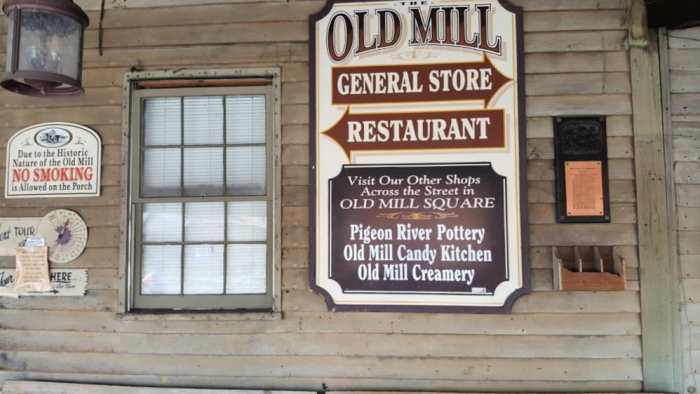 old mill signage on general store pigeon forge