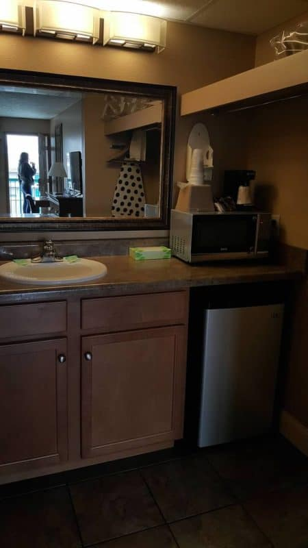 willow brook lodge microwave and refrigerator in room
