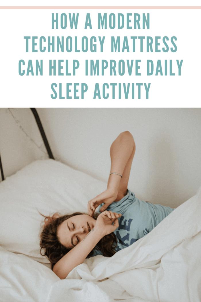 woman waking up on modern mattress stretching after sleep