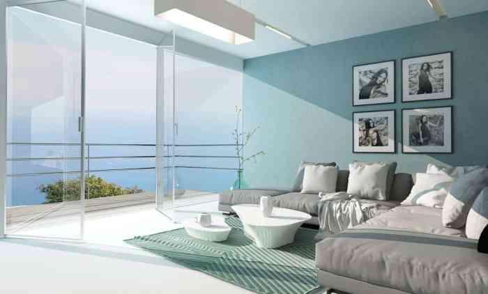 bedroom in happy blues