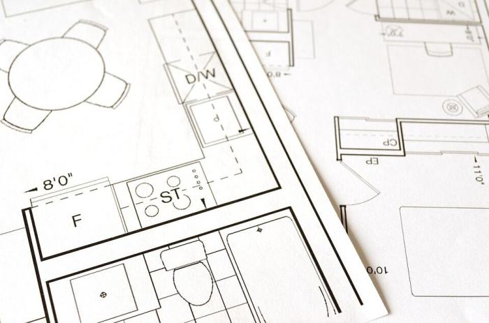 blueprint for different kitchen design and home design
