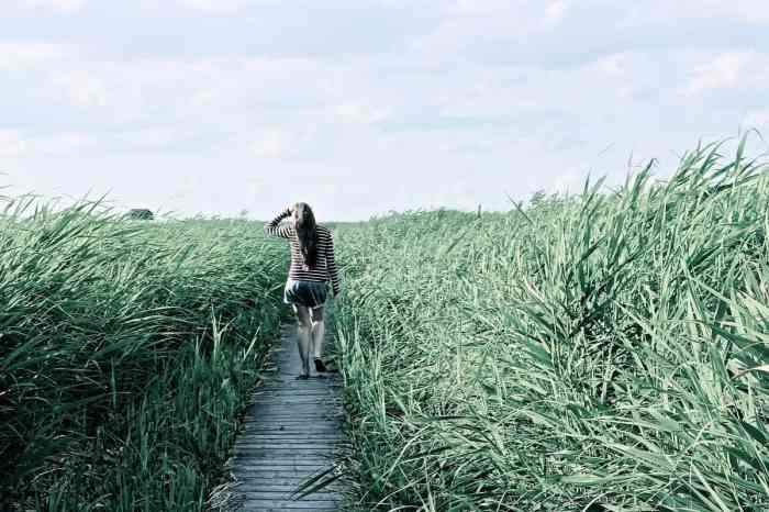 woman walking on boardwalk through tall brush to destress