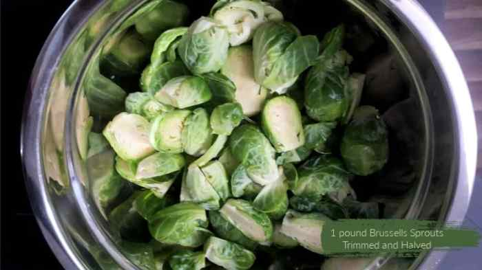 Brussels sprouts trimmed and halved