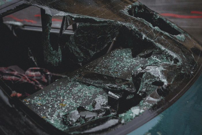 post car accident rear window of car shattered and broken out
