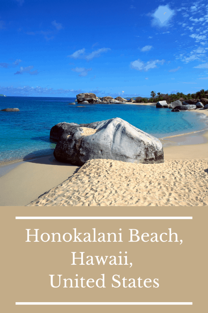Honokalani Beach features pitch-black sand, dense tropical trees and flowers, and bright blue waves.