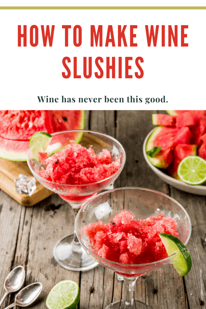 wine slushies in wine glasses with lime wedge accents