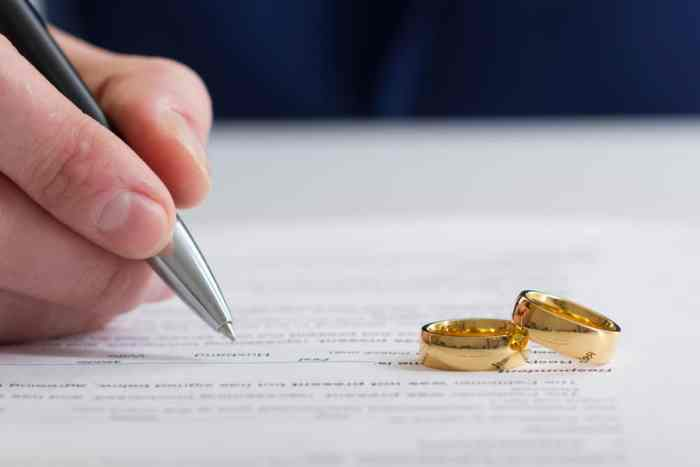 gold rings on divorce paper