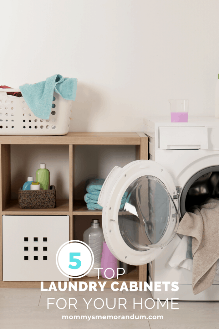 This laundry cabinets idea is a great way to fix the problem with small space.