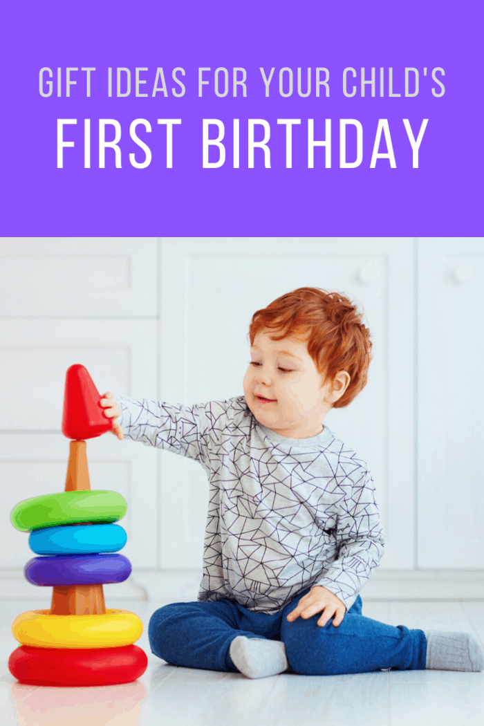 Gift ideas for Your Child's First Birthday: Stacking and shape sorting toys, allows toddlers to recognize several shapes, colors and sense for different sized objects