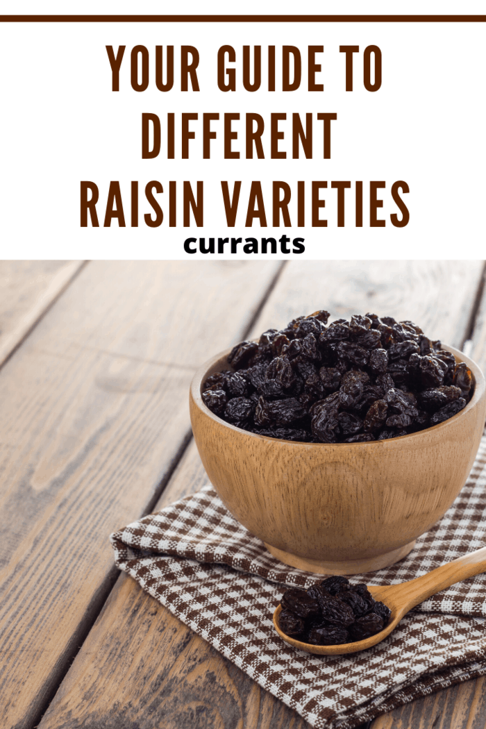Currants are made from Black Corinth grapes. These types of raisins are seedless and have a very dark color. Their taste is tart and tangy, and they're quite a bit smaller than other types of raisins.