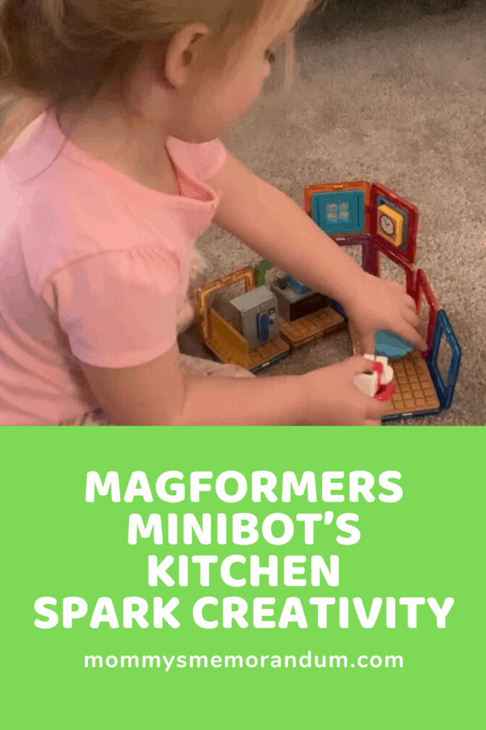 The Magformers – Minibot's Kitchen set has been a lifesaver to pull out and occupy her busy mind and hands.
