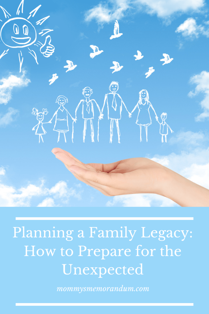 drawing of family  on blue sky with clouds background with hand underneath