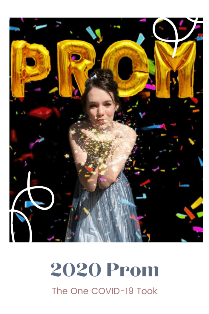prom balloons in background with girl at prom blowing glitter