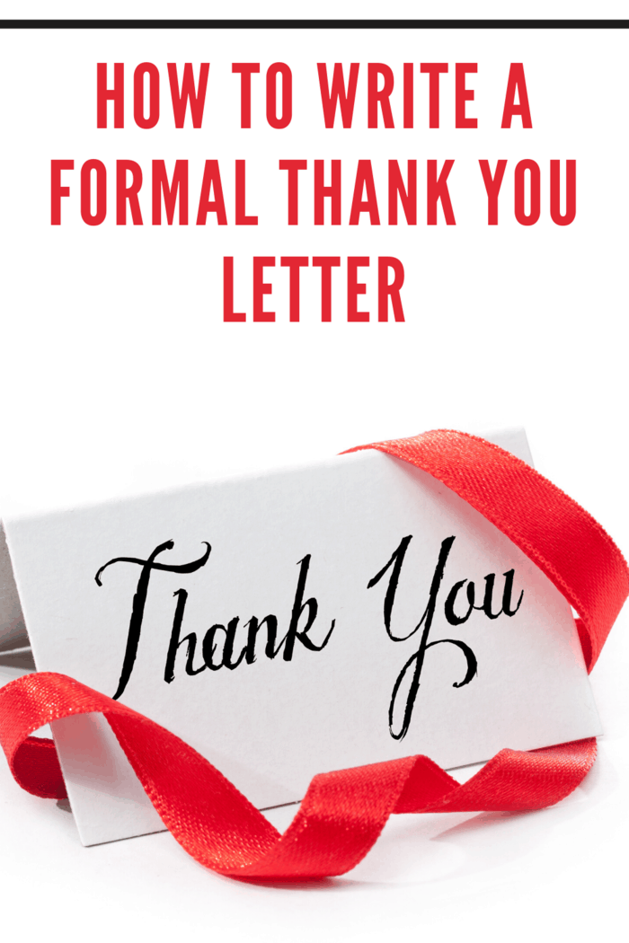 formal thank you note with red ribbon