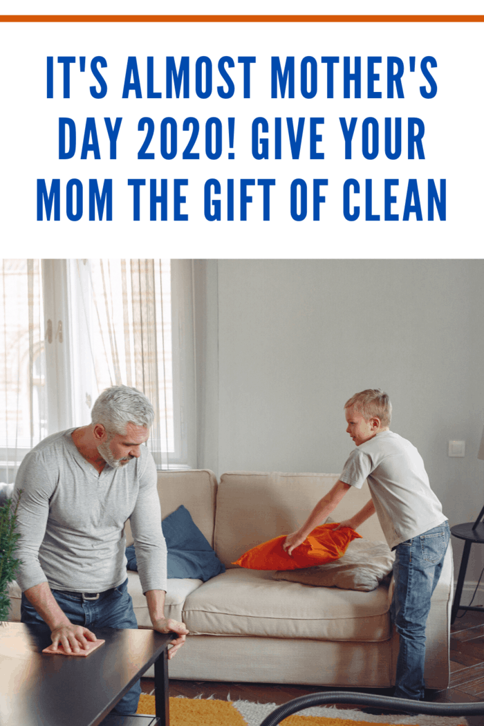 father and son cleaning room to give mom the gift of clean