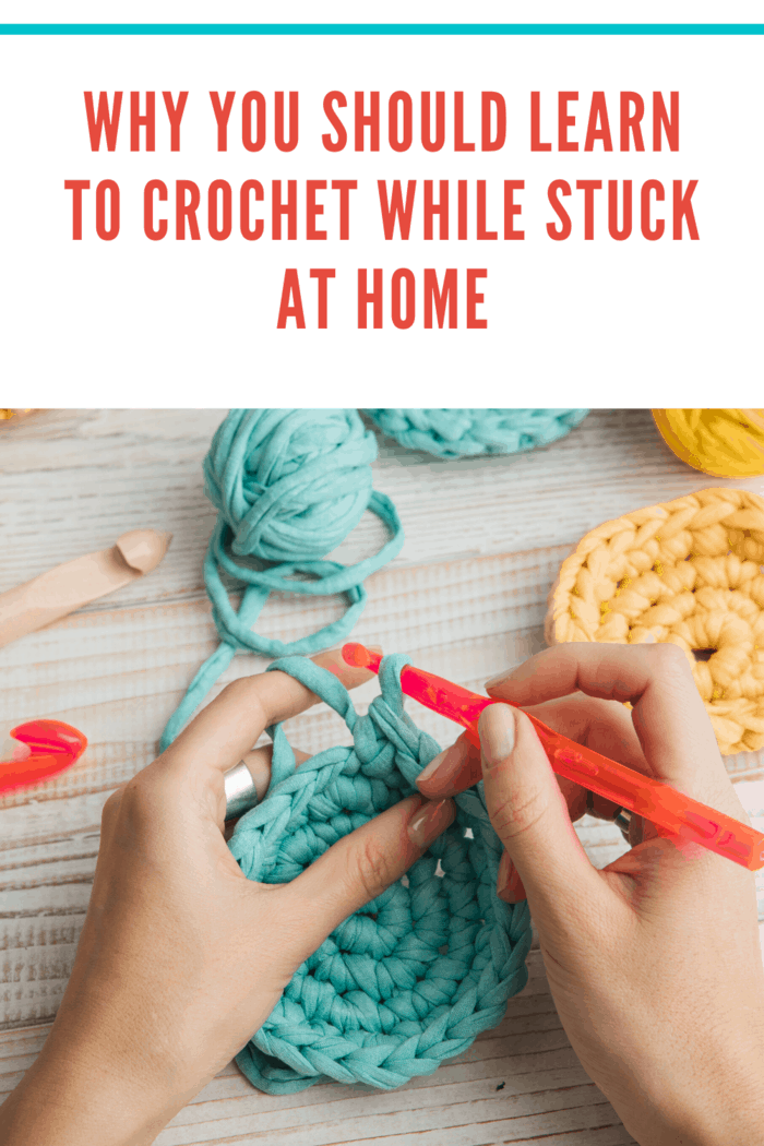 woman crocheting circle