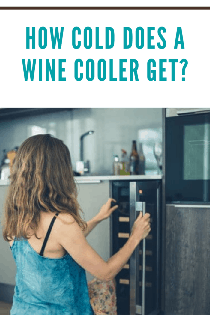 woman getting wine out of a wine cooler