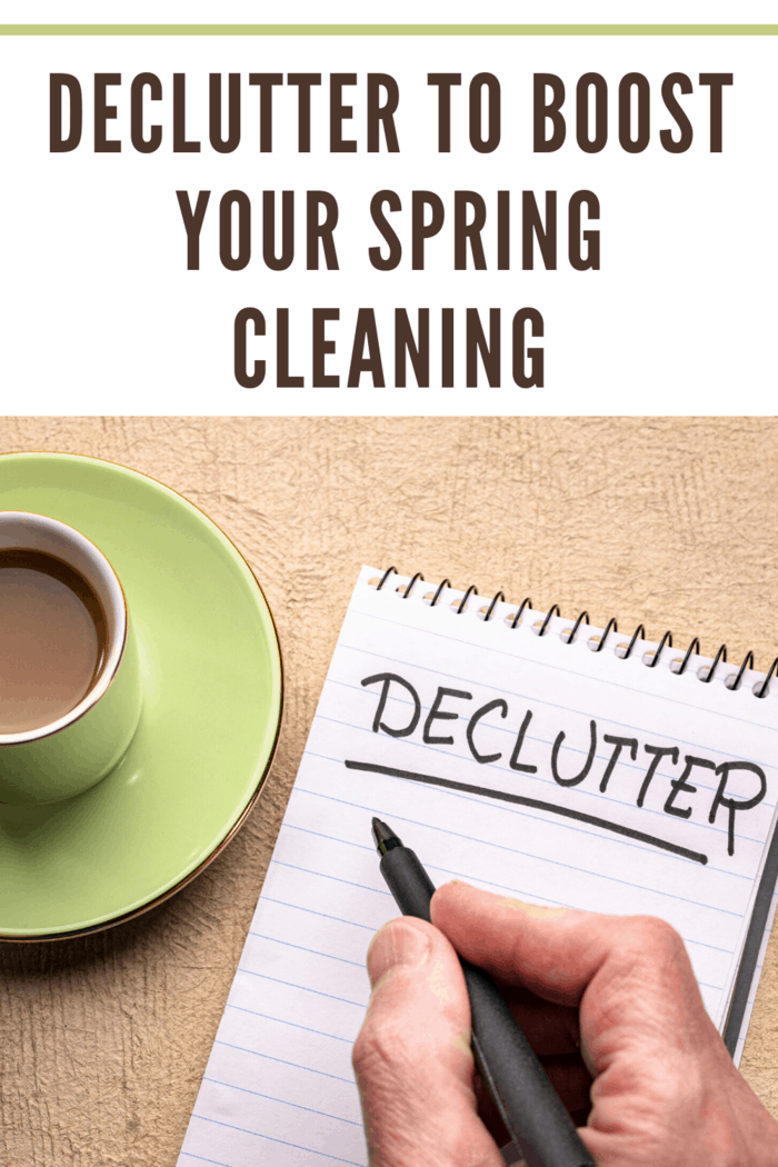 spring cleaning hacks making a list to declutter while drinking coffee in green cup