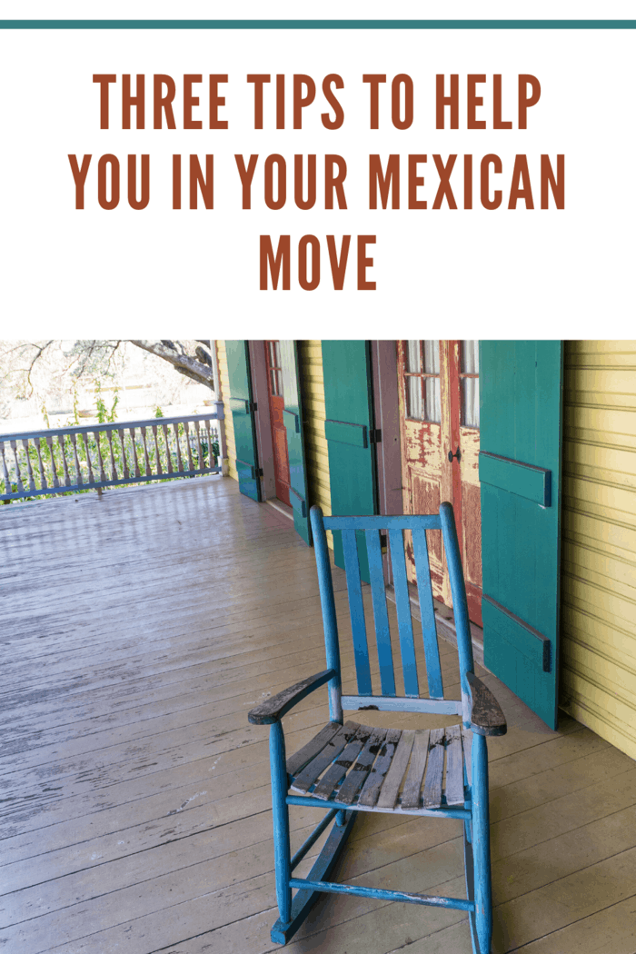 wooden chair on porch for relaxation after Mexico Move