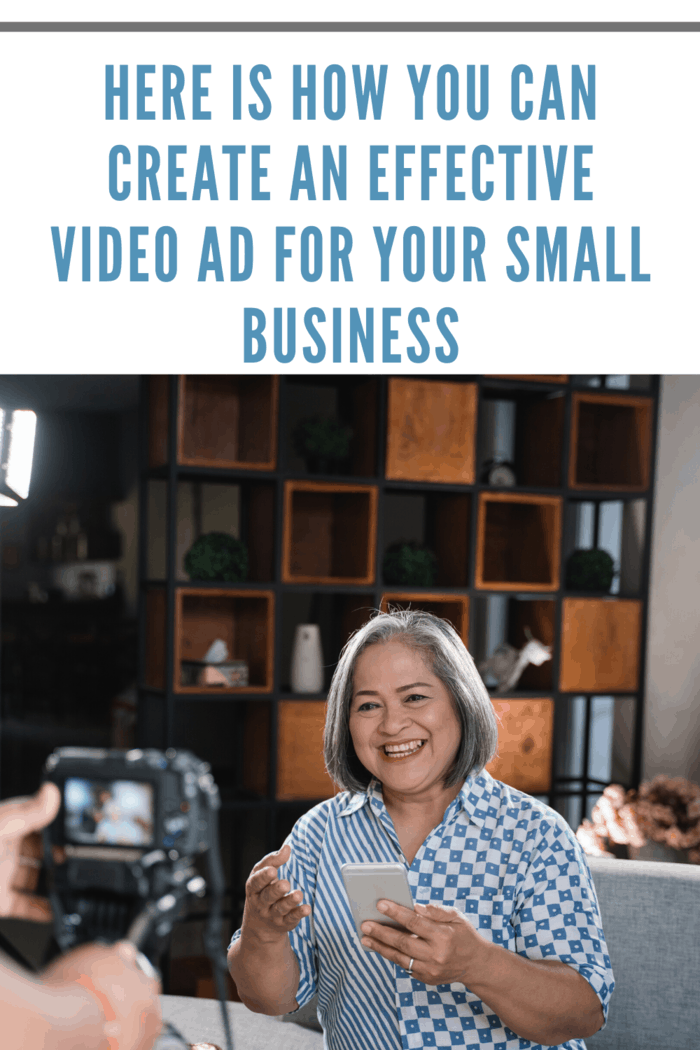 Old women making an effective video ad for her small business on mobile phone technology