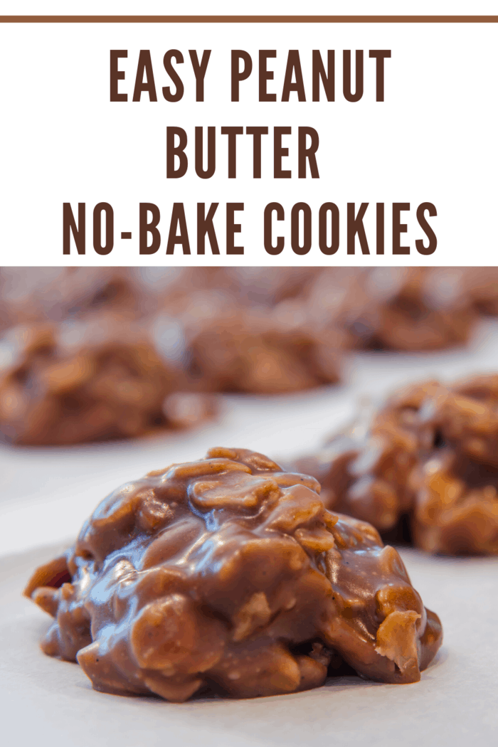 chocolate peanut butter no bake cookies on parchment paper waiting to set
