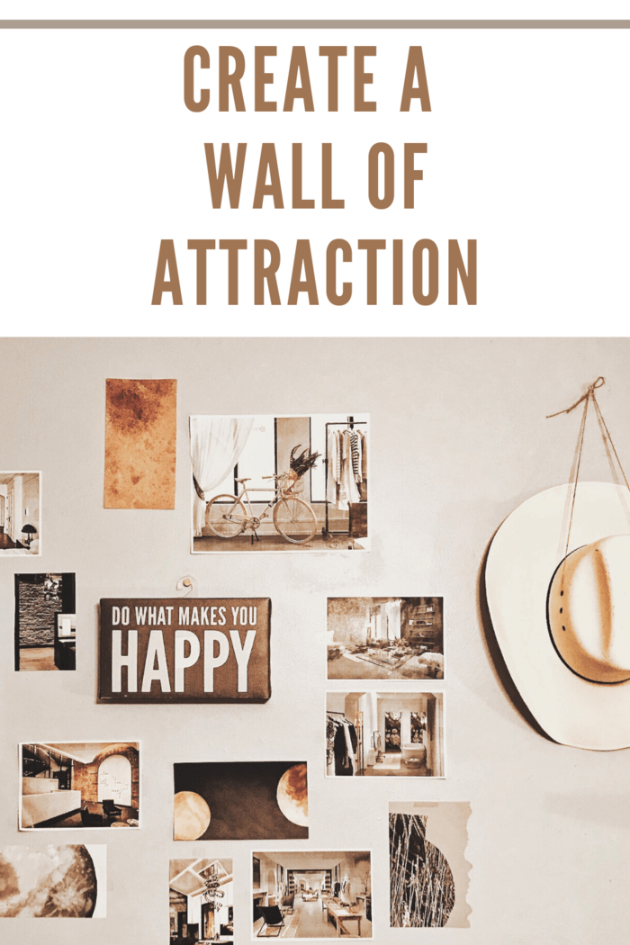 wall of attraction accent wall with various photos and wall hangings and hat