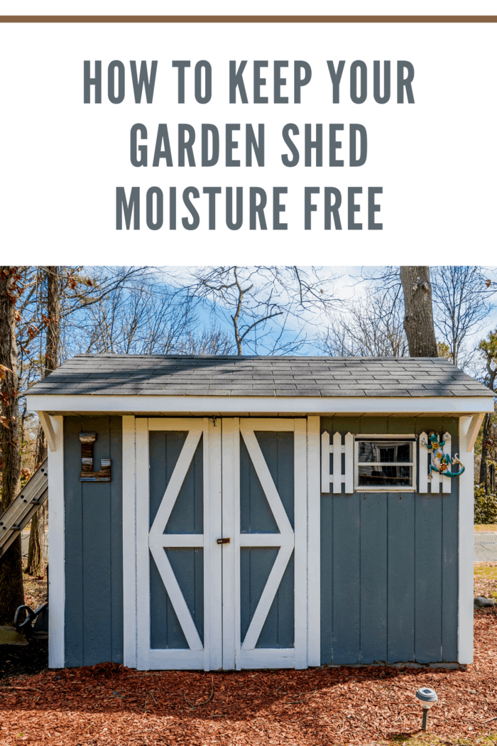 blue gray shed with white trim and small window