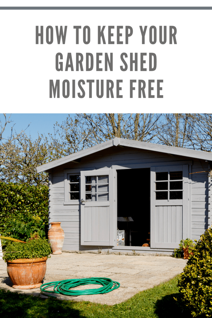 gray shed with door open