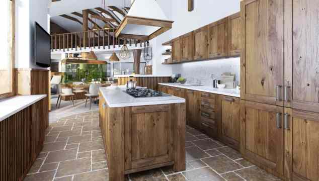 kitchen island and cabinets in matching wood with white trim accents