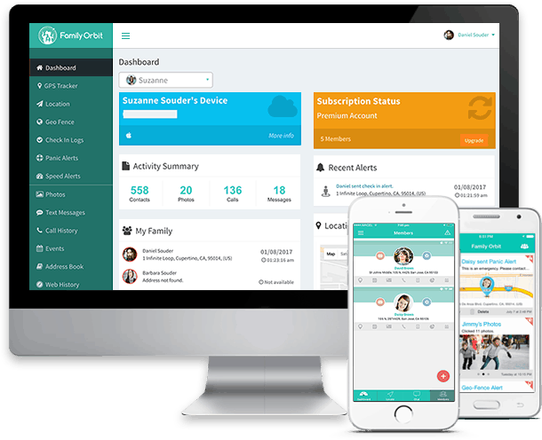computer and mobile device with family orbit parental control app