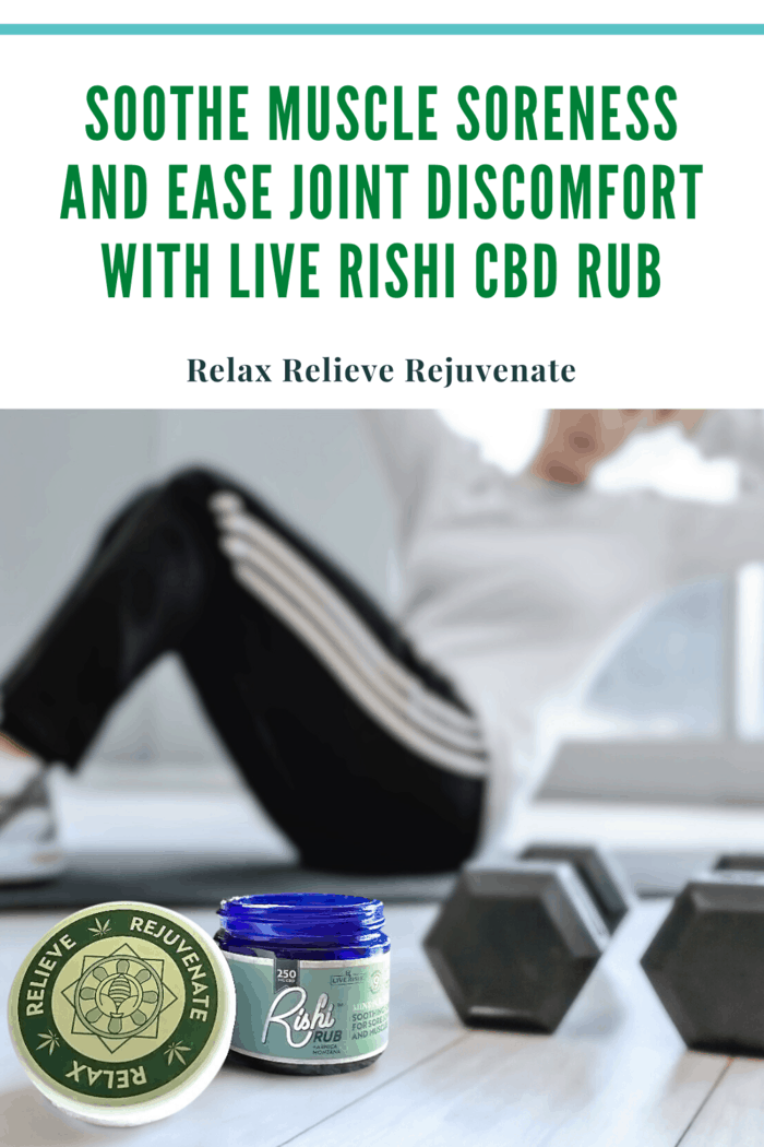 rishi rub with cbd in front of woman doing situps with weights