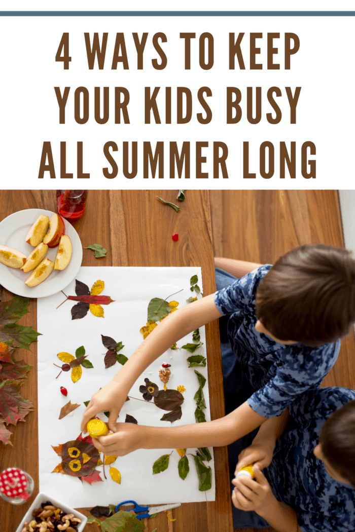 young child painting and doing arts and crafts as a way to keep busy all summer