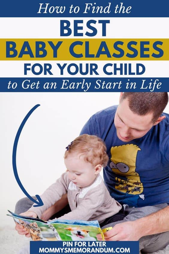 dad playing with baby during a baby class