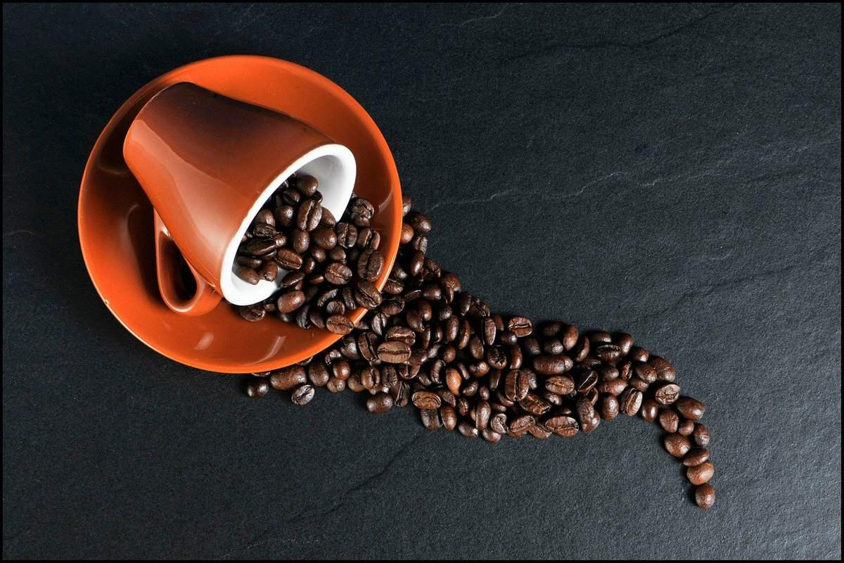 burnt sienna colored coffee cup on side with coffee beans spilling out in neat design
