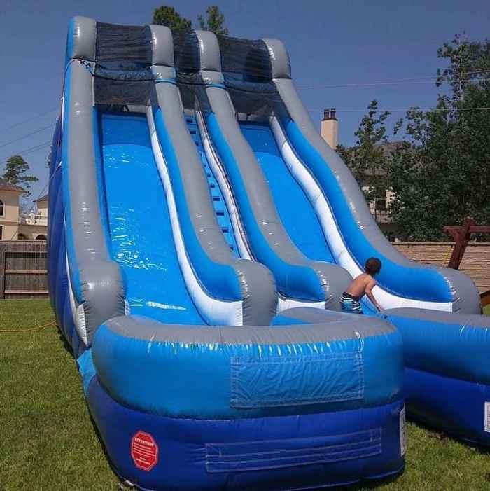 blue dual inflatable water slide rental