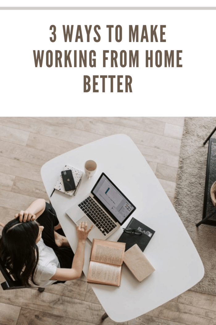 overhead view of woman working from home