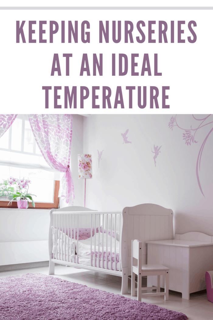 Interior of baby room with white furniture and pink details with nursery at ideal temperature