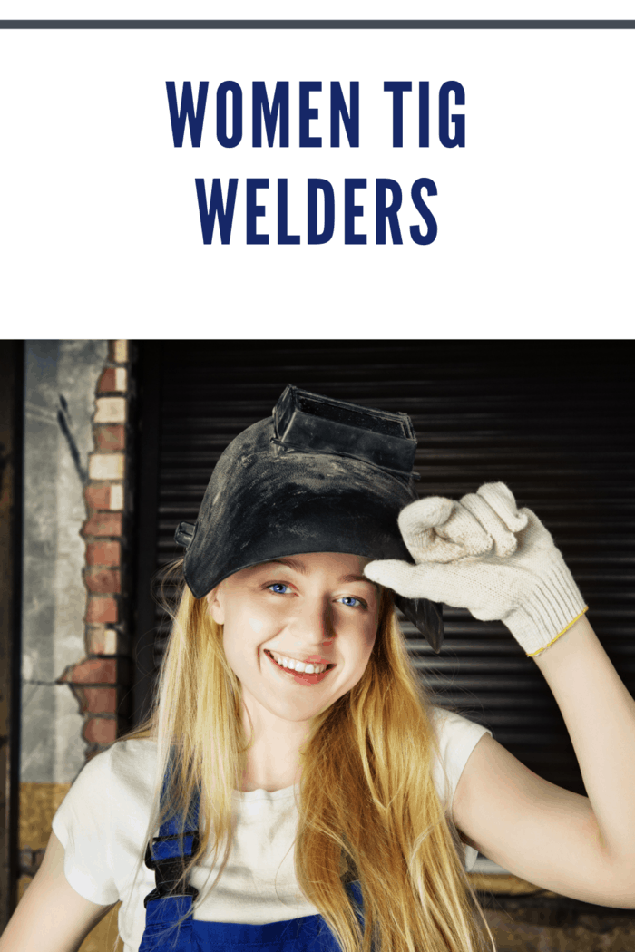 woman tig welder with mask up and smiling