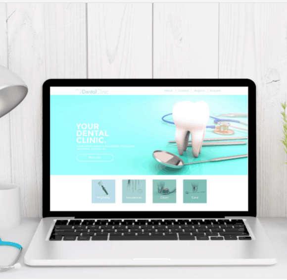 3d rendering of medical desktop with dental clinic website on screen