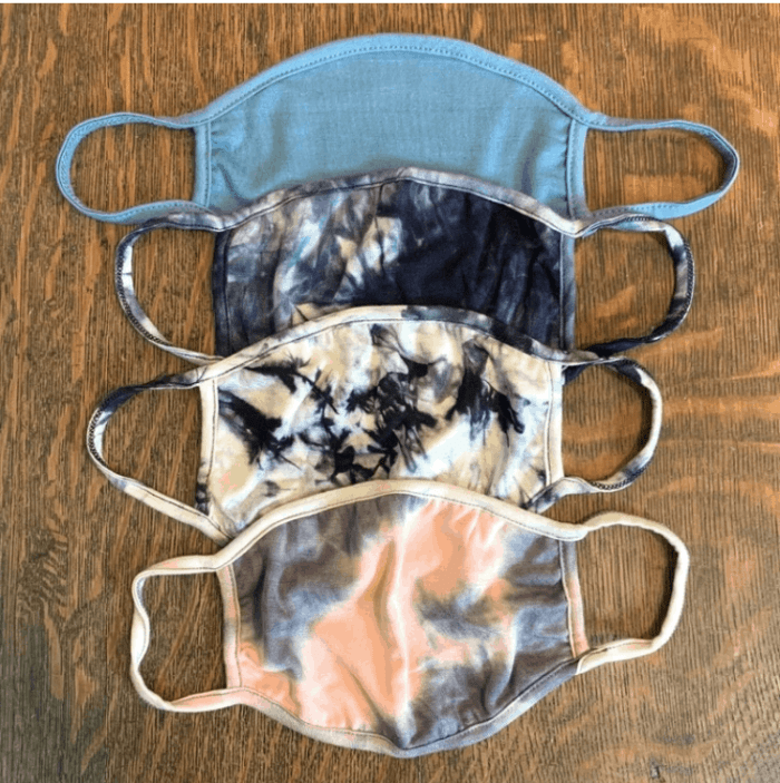 4 face masks, three of them make your own tie dye masks examples
