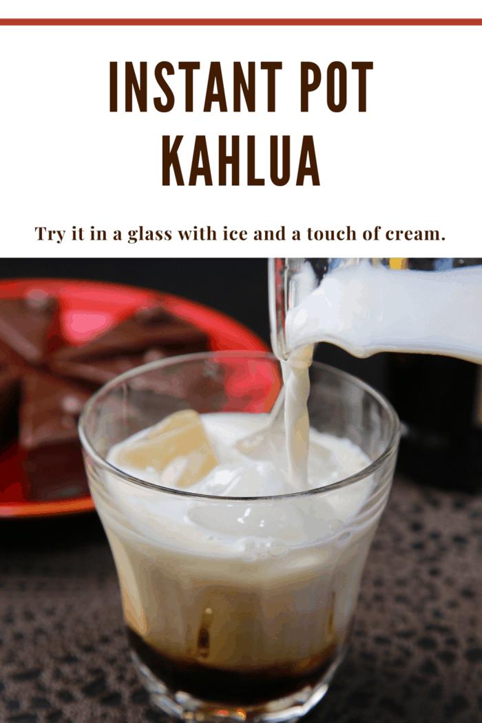 cream being poured into glass over instant pot kahlua