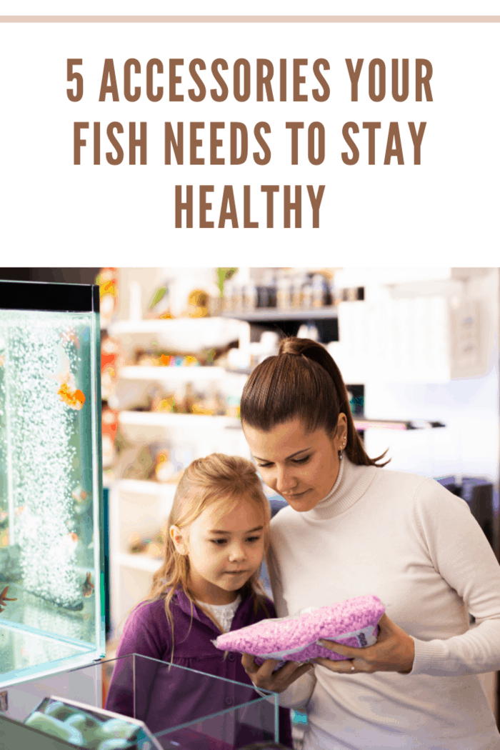 Happy young mother with cute little daughter choosing accessories for home aquarium in pet shop