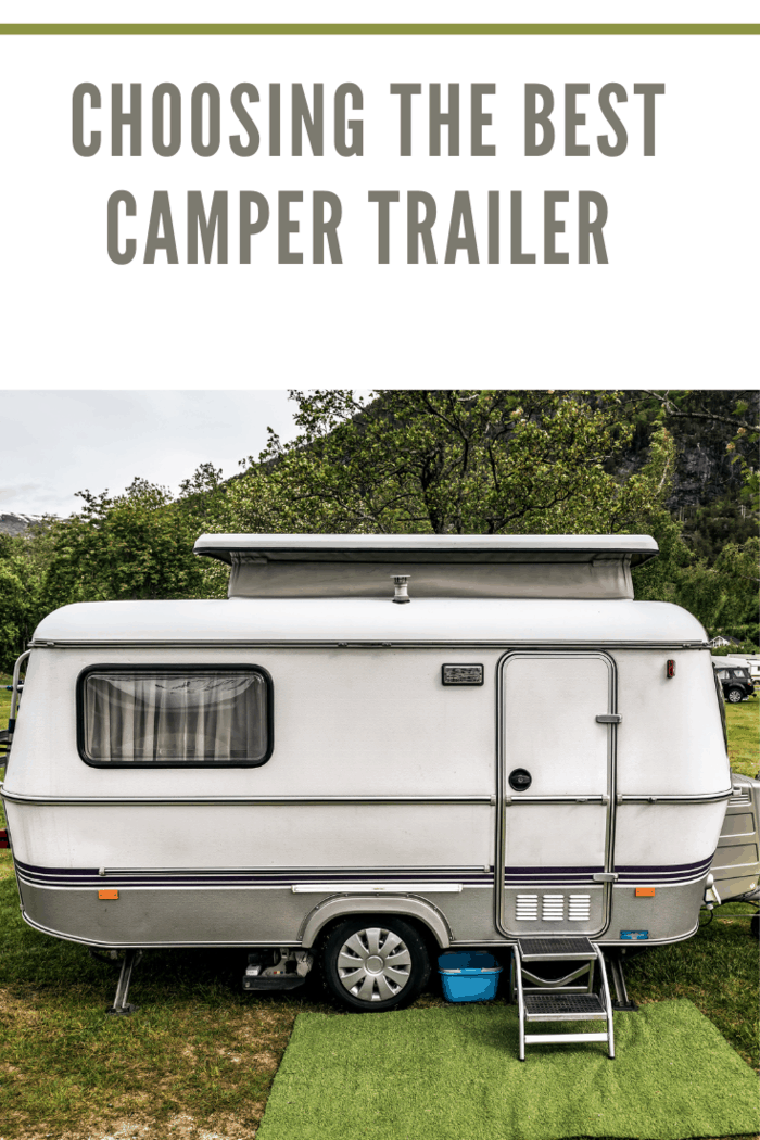 camping trailer stands in campsite in Norway