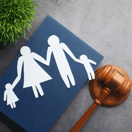 Family Law, Family Right Concept on Black Background