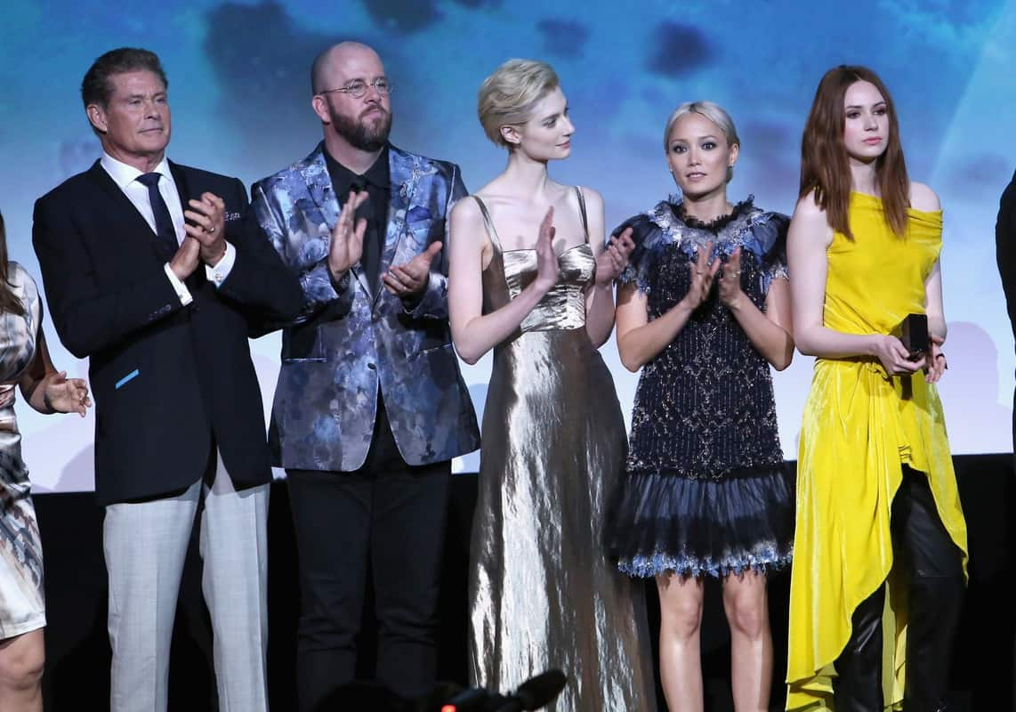 """<em>HOLLYWOOD, CA - APRIL 19: (L-R) Actors David Hasselhoff, Chris Sullivan, Elizabeth Debicki, Pom Klementieff and Karen Gillan at The World Premiere of Marvel Studios' """"Guardians of the Galaxy Vol. 2."""" at Dolby Theatre in Hollywood, CA April 19th, 2017 (Photo by Jesse Grant/Getty Images for Disney)</em>"""